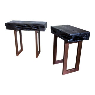 Artisan Yakisugi Organic Modern Wood Metal Side End Tables - a Pair