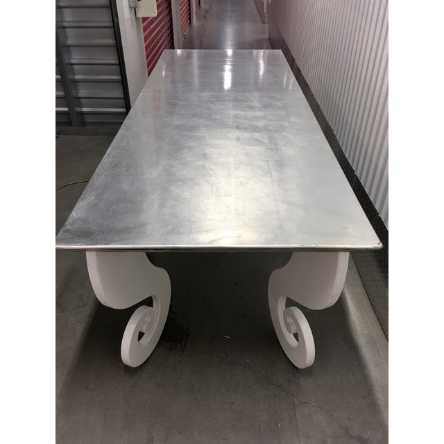 Silver Lacquer Pinwheel Legged Hall Table - Image 6 of 7
