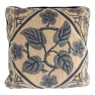 Blue & White Chinoiserie Floral Pillow For Sale