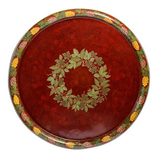 """Antique French Exceptional Hand Painted Tole Tray, 48"""" Across, C.1890 For Sale"""