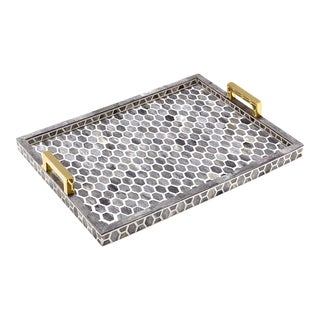 Gramercy Tray in Grey & White, Large For Sale