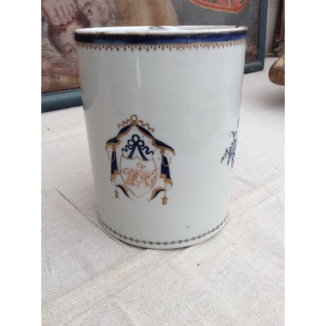 Very rare extra large Chinese export mug. The top rim is worn and chipped but amazingly the handle is fully intact. This...