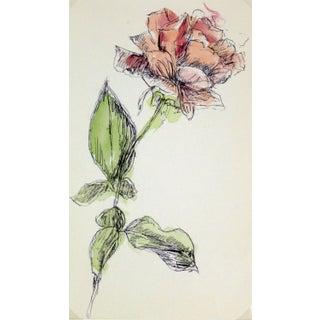 Vintage Watercolor Painting, Rose Stem