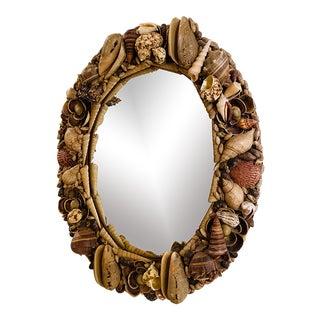 Vintage Oval Seashell Encrusted Mirror For Sale