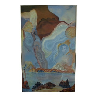 1970s Vintage Abstracted Seascape Painting