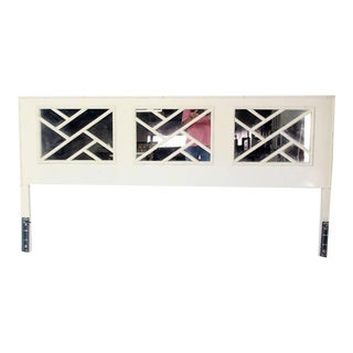 Faux Bamboo, Mid-Century Modern White Lacquer King-Size Headboard