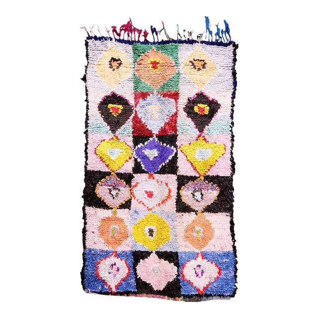 Hand Knotted Colorful Vintage Moroccan Rug - 4′2″ × 6′6″ For Sale
