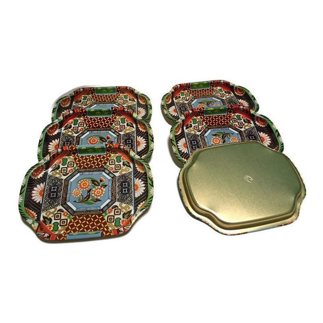 1960s Mid Century Snack Trays Chinoiserie Vanity Trays - Set of 6 For Sale - Image 5 of 11