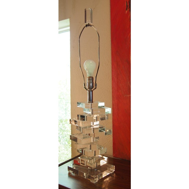 Clearlite by Bauer Stacked Lucite Lamps- A Pair For Sale In Dallas - Image 6 of 6