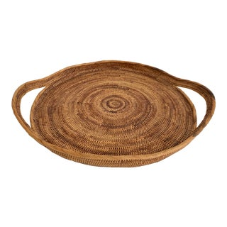 Woven Rattan Tray W/Handles For Sale