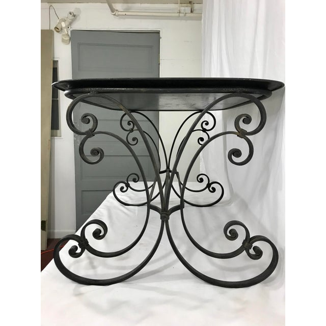 Art Deco Napoleon III Painted Tray on Custom Art Deco Wrought Iron Stand For Sale - Image 3 of 9