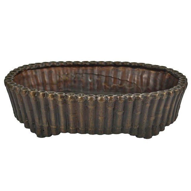 Asian Bronze Bamboo Oval Planter For Sale - Image 3 of 3
