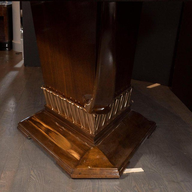 Art Deco Art Deco Book Matched Mahogany Dining Table With 24-Karat Gilt Acanthus Details For Sale - Image 3 of 12