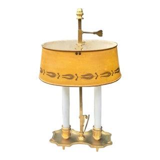 Antique Yellow Tole Bouillotte Student Desk Lamp For Sale