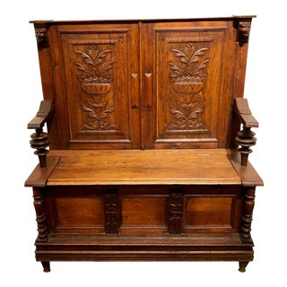 Antique 1880s Carved Wood Monks Bench For Sale