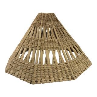 Boho Chic Raffia 9 Sided Polygon Shape Rattan Lamp Shade For Sale