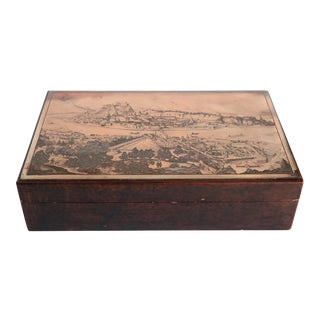 Antique Engraved Copper and Leather Valet Box