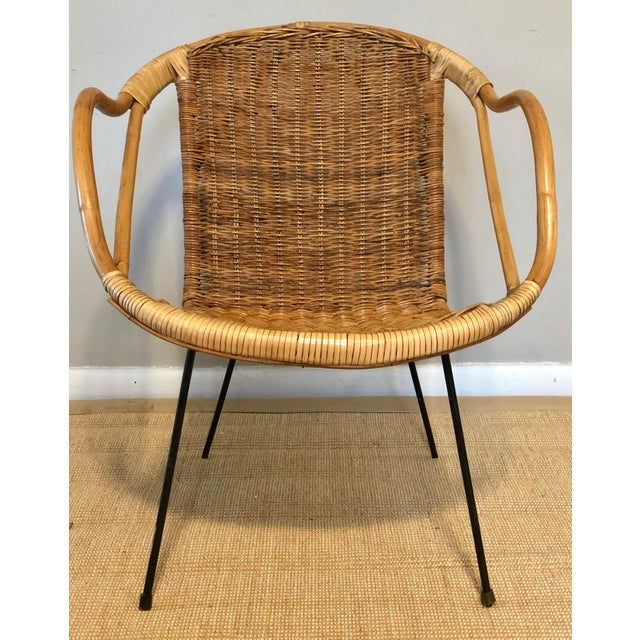 Bamboo Mid Century Italian Rattan & Sculpted Bamboo Boho Chic Chair For Sale - Image 7 of 12