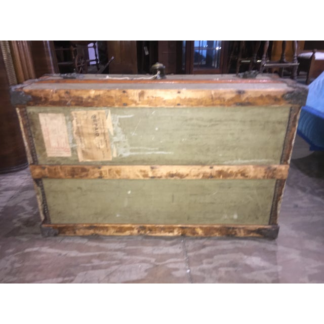Crouch & Fitzgerald Antique Flat Top Trunk For Sale - Image 11 of 11