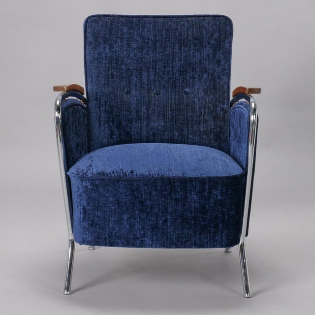 Pair Bauhaus Steel and Wood Club Chairs For Sale - Image 10 of 11