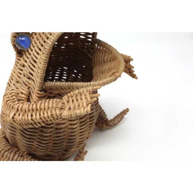 1980s Vintage Wicker Frog Basket With Glass Marble Eyes For Sale - Image 5 of 11