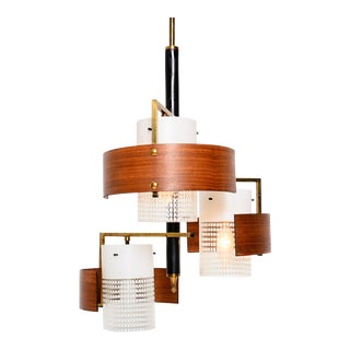 Mid Century Modern Italian Chandelier With Teak Diffusers, Stilux Italy For Sale