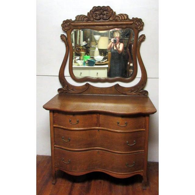 Oak Early 20th Century Antique Tiger Oak Dresser & Mirror For Sale - Image 7 of 7