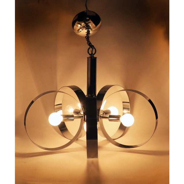 1960s Mid-Century Modern Chrome Hoop Pendant Lamp For Sale - Image 10 of 11
