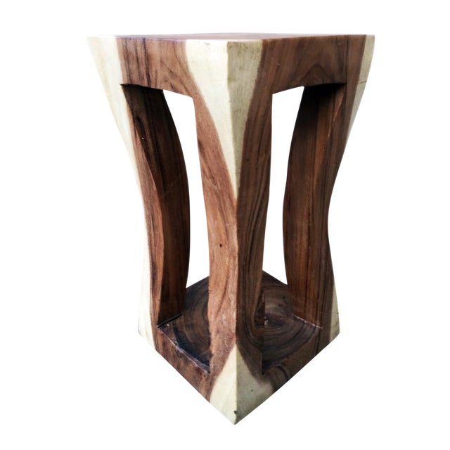 Natural Wood Four Leg Curve Stool For Sale