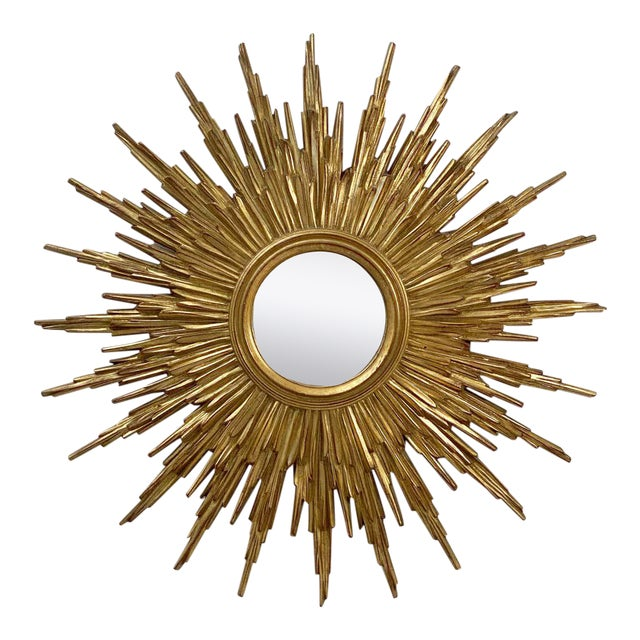 Belgian Gilt Sunburst or Starburst Convex Mirror (Diameter 31 1/2) For Sale