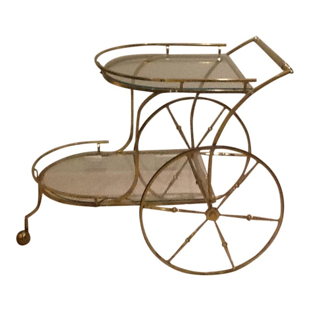 Vintage Mid Century Glass and Brass Bar Cart For Sale