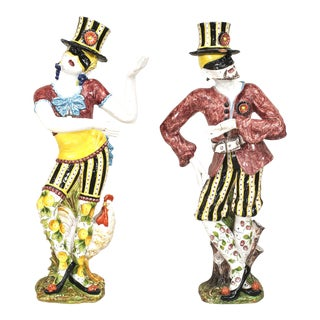 19th Century Italian Majolica Harlequins - Set of 2 For Sale