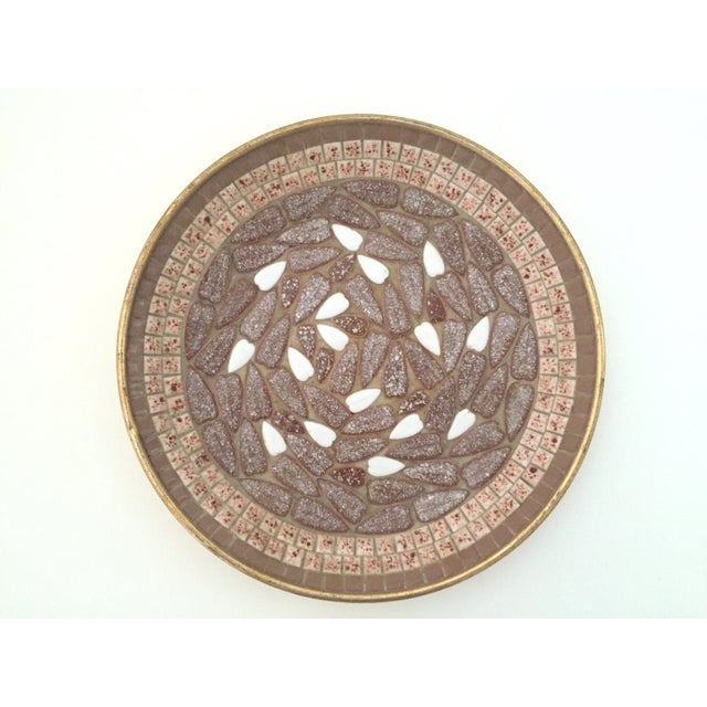 This authentic vintage Mid Century Modern handcrafted multi tone brown mosaic ceramic tile large dish bowl is a very...