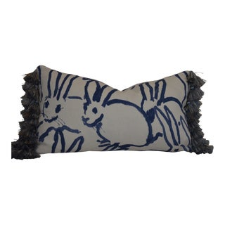 Lee Jofa Groundworks Navy Blue Bunny Hutch Print Pillow For Sale