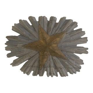 Antique Hand Carved Sunburst Decorative Object For Sale