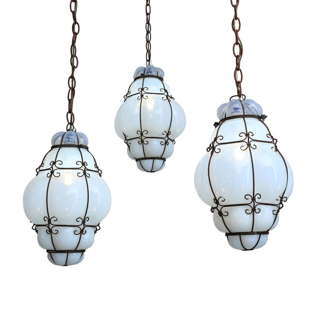 Three Caged Glass Italian Pendants For Sale - Image 13 of 13