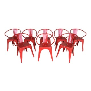 Industrial Fire Engine Red Metal Bistro Arm Chairs - Set of 8 For Sale