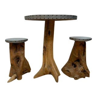 Natural Wood and Aluminum Round Table With 2 Stools For Sale