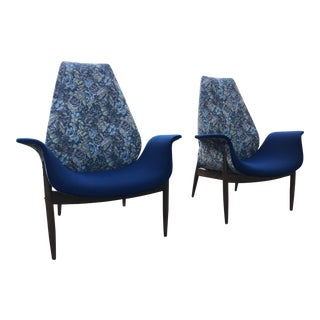 1960's Vintage Arthur Umanoff Lounge Chairs- A Pair For Sale