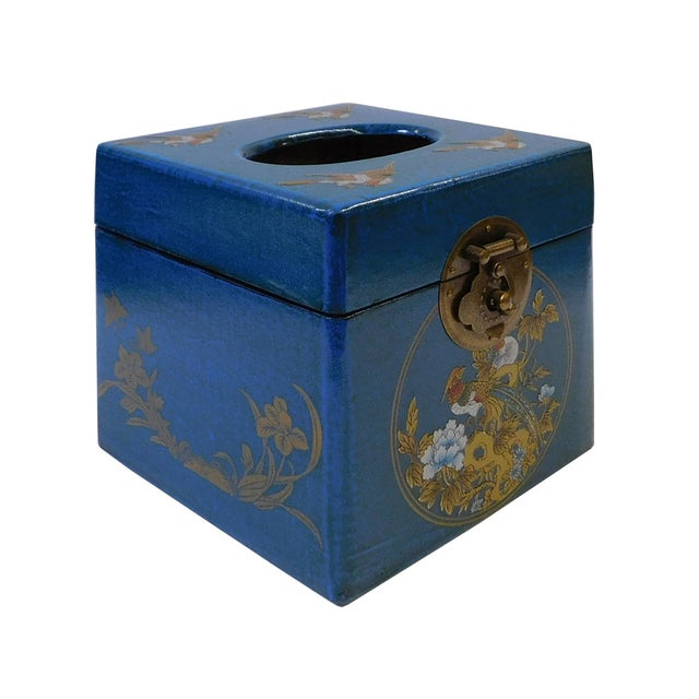 Chinese Blue Container or Tissue Box - Image 2 of 5