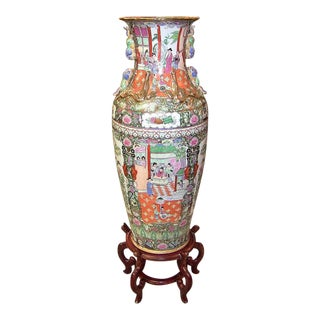 20c Chinese Cantonese Rose Medallion Famille Rose Gilted Floor Vase For Sale