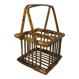 20th Century Chinoiserie Bamboo Bottle Basket in Burned & Lacquered Tortoise Finish For Sale