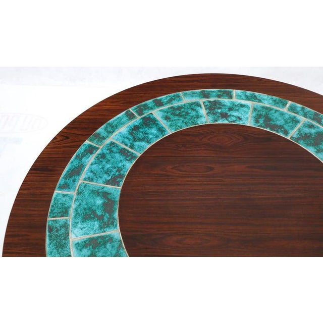 Green Art Tile Top Rosewood Cone Shape Base Round Coffee Table For Sale - Image 8 of 10