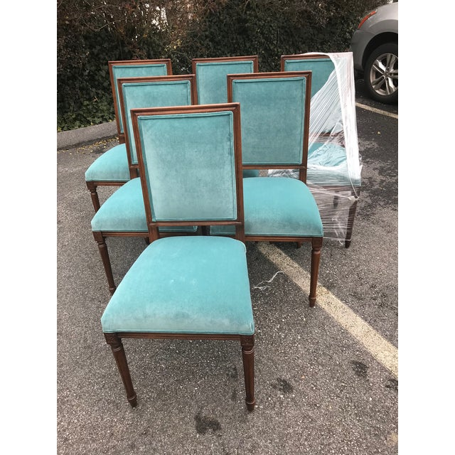 Custom Teal Velvet Dining Chairs - Set of 6 - Image 7 of 7