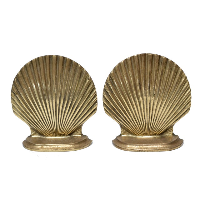 Handcrafted Brass Scallop Shell Bookends - A Pair For Sale - Image 4 of 4