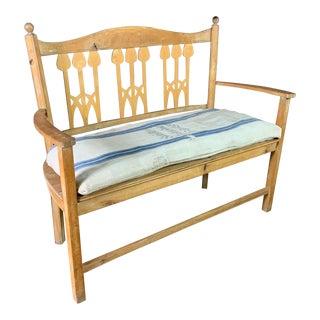 1900 Swedish Art Nouveau Rural Pine Bench For Sale