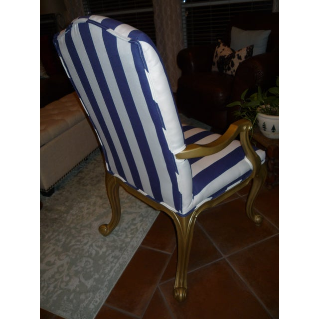 Regal Gold & Blue Striped Chair - Image 5 of 10