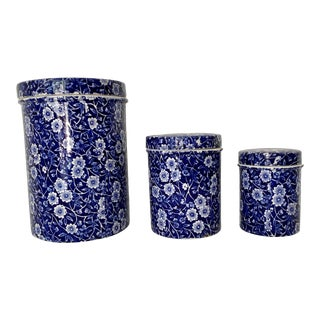 """Vintage Crownford China Co. """"Calico"""" Blue and White Floral Canisters- Set of 3 For Sale"""