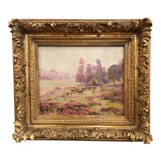 19th Century French Sheep Painting in Original Gilt Frame Signed E. Pail For Sale