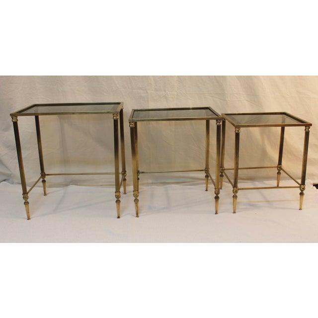 1950's Modern Italian Brass Nesting Tables - Pair For Sale - Image 7 of 10